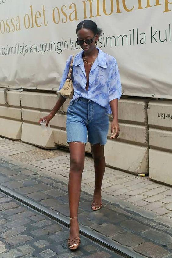 Bike-Denim-Shorts-and-Oversized-Shirt-