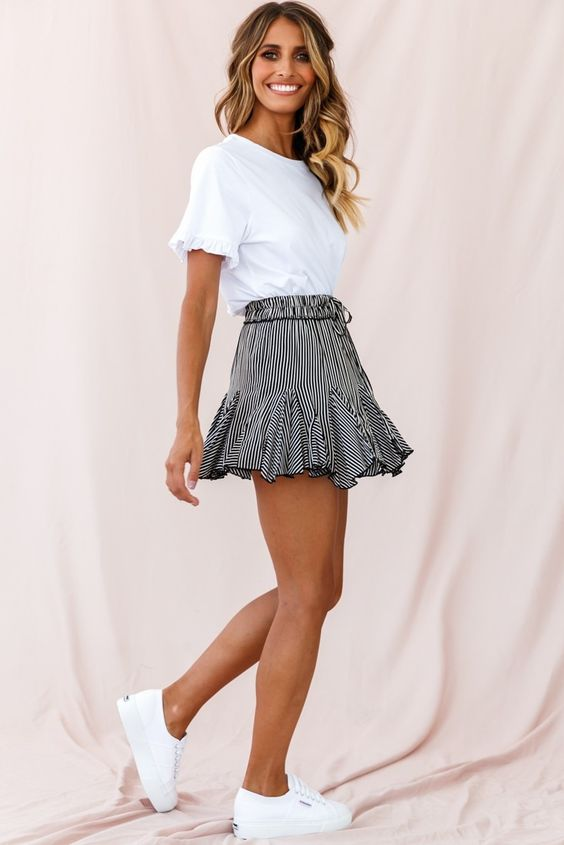 striped-mini-skirt-and-white-casual-tshirt-