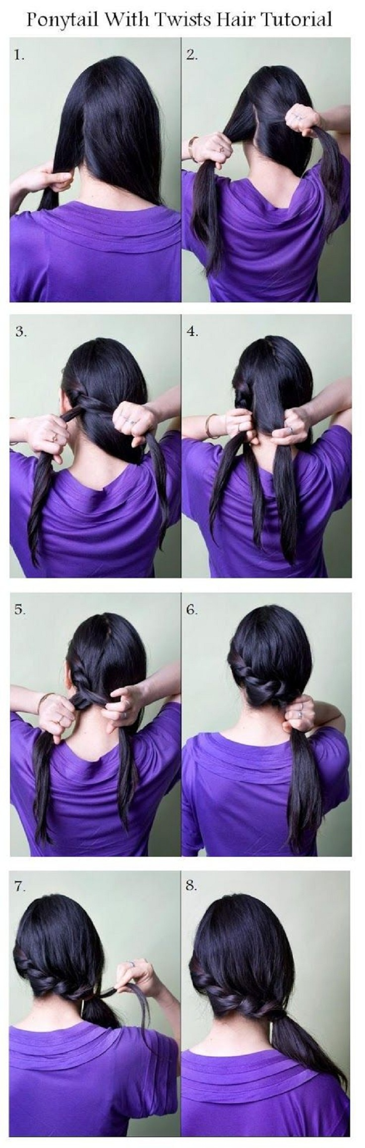 Make A Ponytail With Twists For Your Hair tutorial