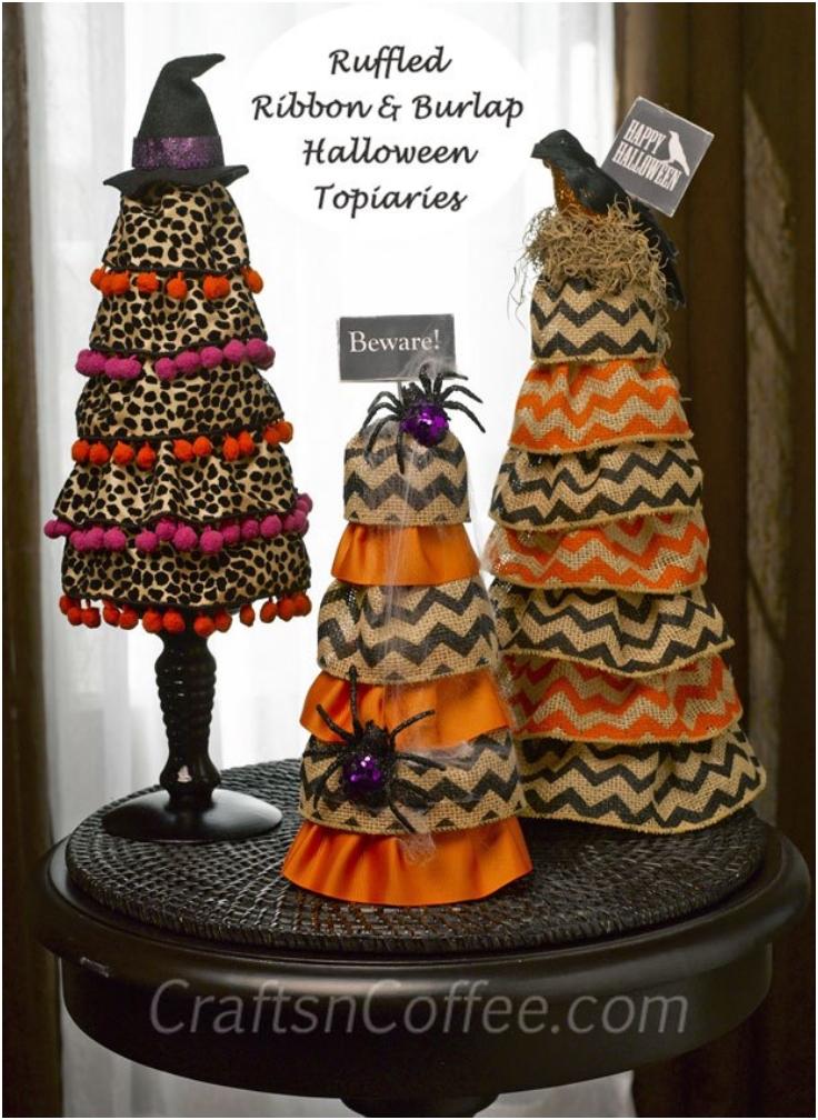 Ruffled-Burlap-Halloween-Cones