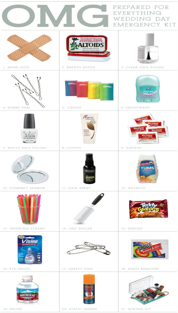21 ITEMS  Wedding Day Emergency Kit