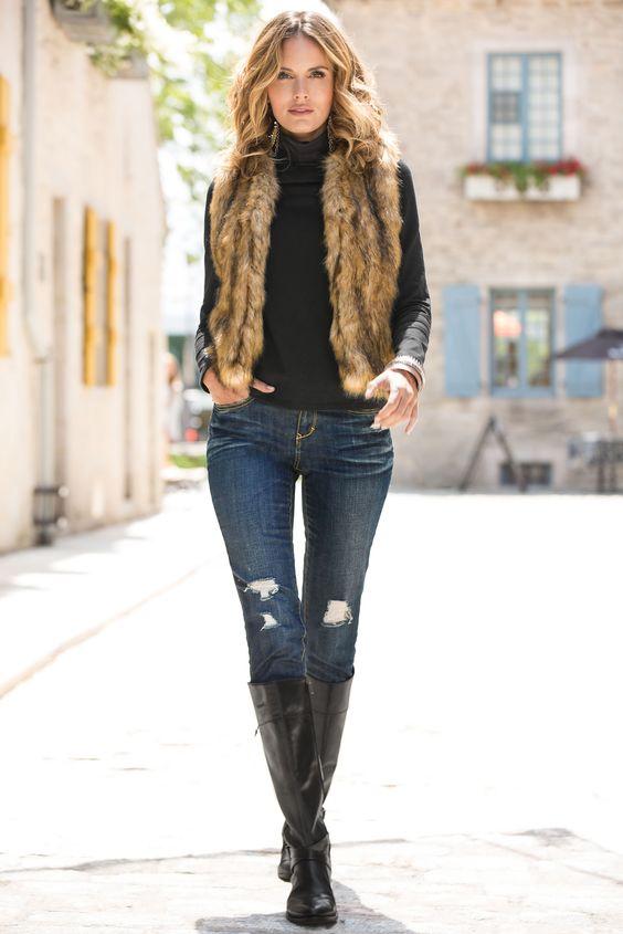 Autumn-Brown-Faux-Fur-Vest-With-Casual-Denim-Jeans-