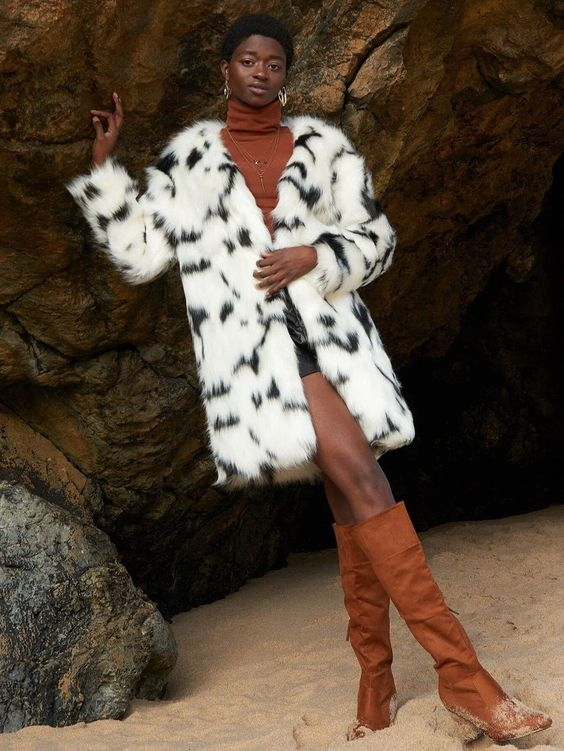 Black-White-Faux-Fur-With-Brown-Suede-Boots