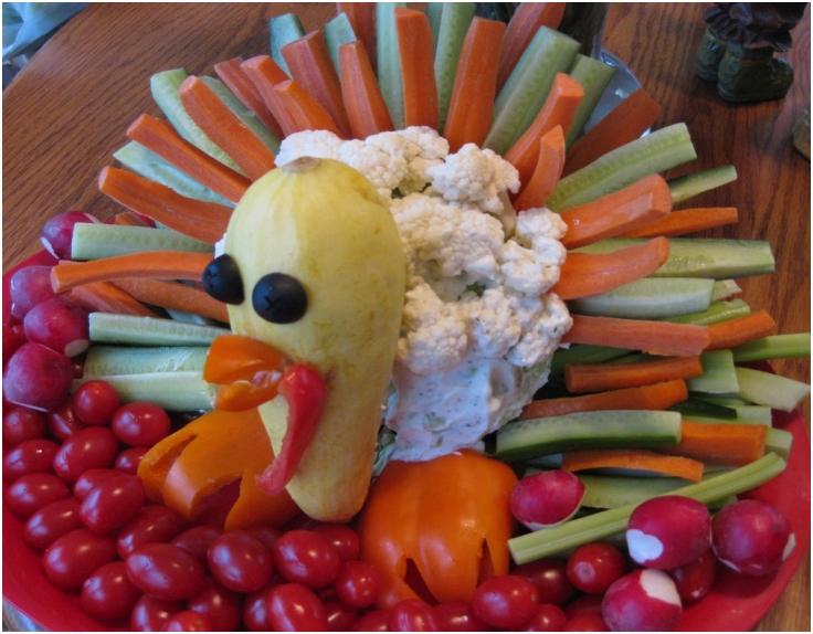 Cornucopia-of-Creativity-turkey-Veggie-Tray