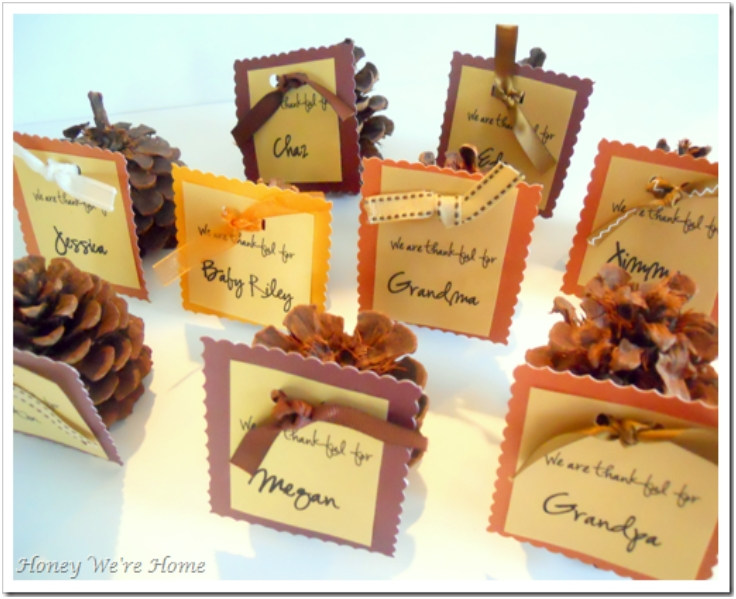 Top 10 fun and fancy thanksgiving place cards top inspired for Diy thanksgiving table place cards