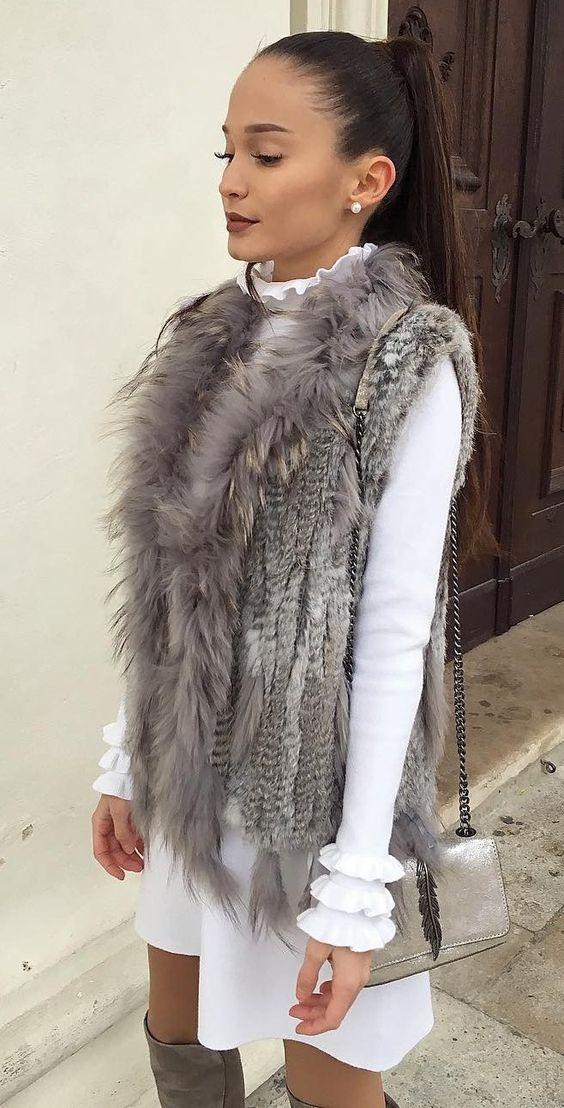 Grey-Faux-Fur-Vest-With-White-Dress