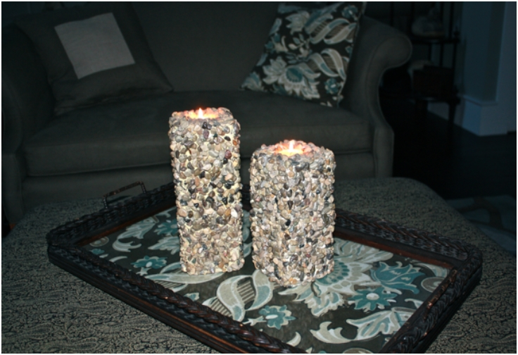 River Stone Pillar Candles