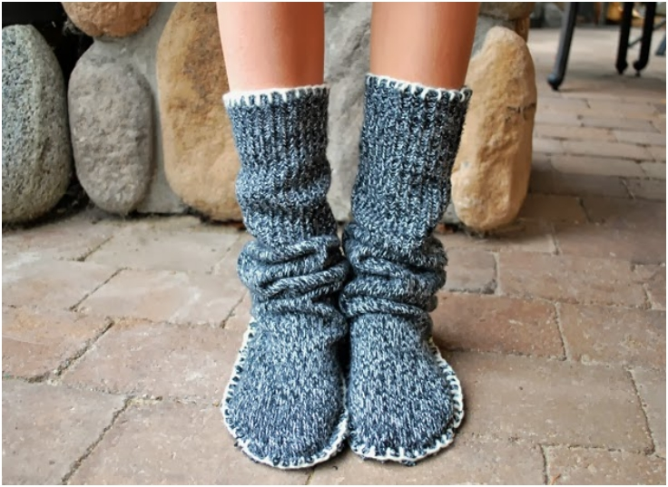 Upcycled-Sweater-Slipper-Boots