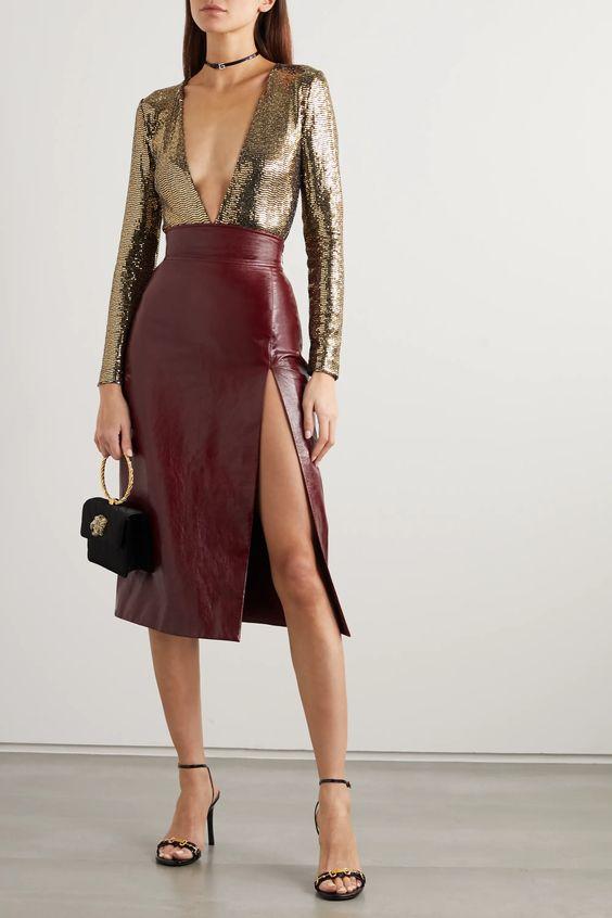 burgundy-leather-skirt-