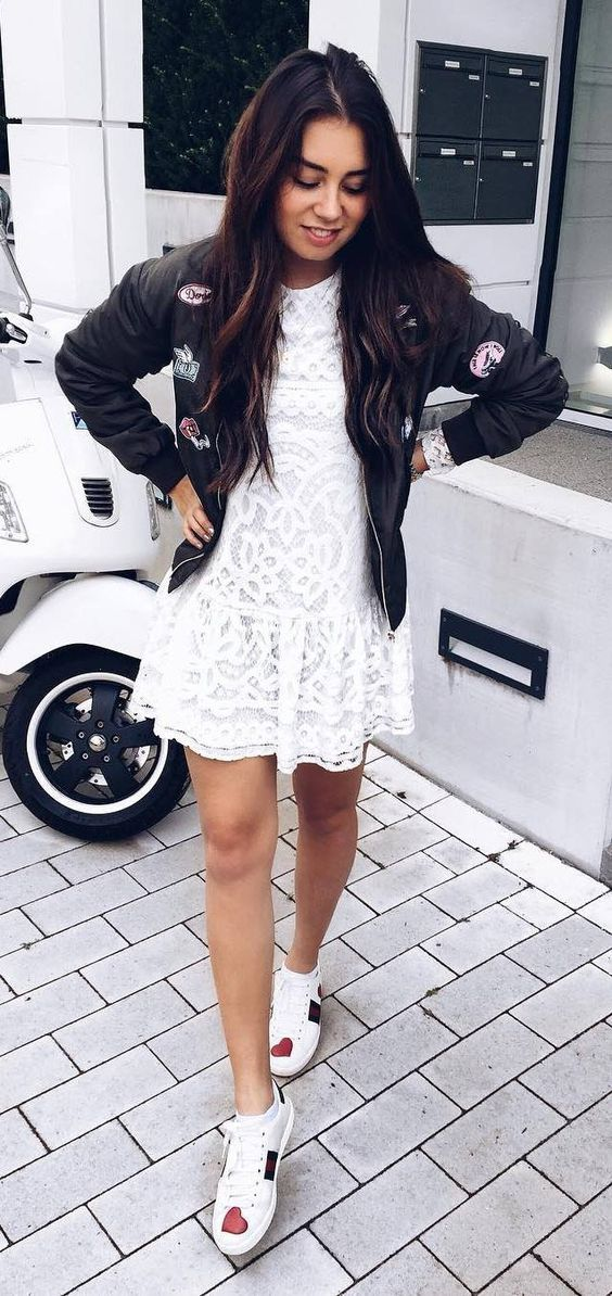 lace-dress-with-sports-jacket-and-shoes-