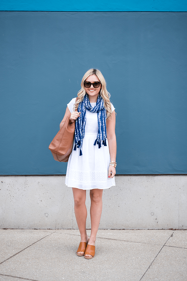 white-summer-dress-with-navy-printed-scarf