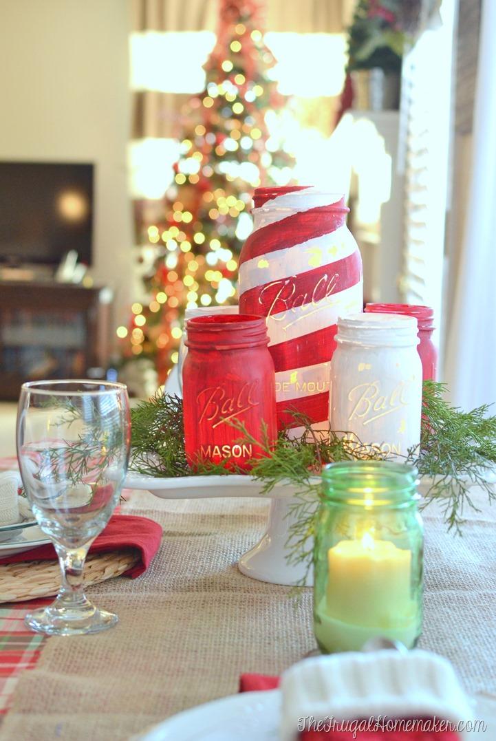 Chalky-finish-mason-jar-Christmas-centerpiece