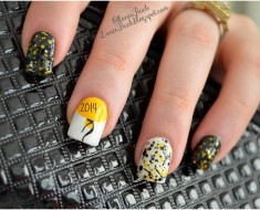 DIY Manicure with Tutorial- Balloon and Glitter New Years Nails