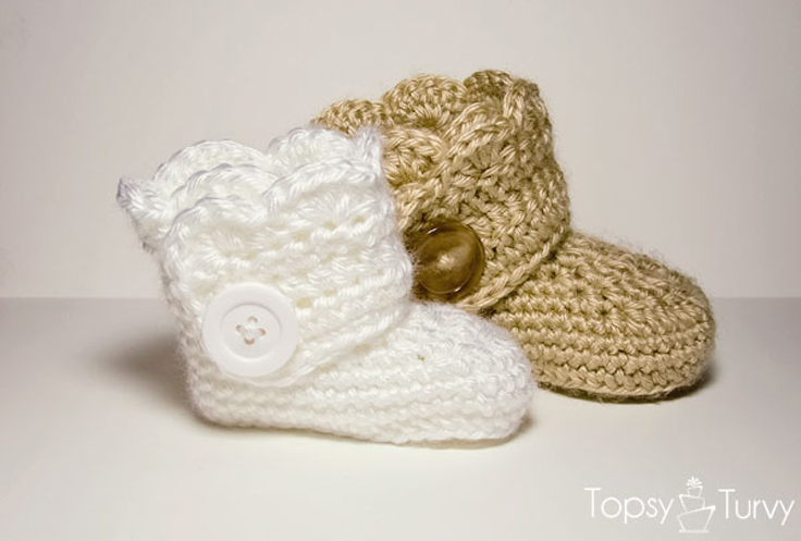 Crochet Newborn Baby Booties Pattern Repeat Crafter Me Crochet