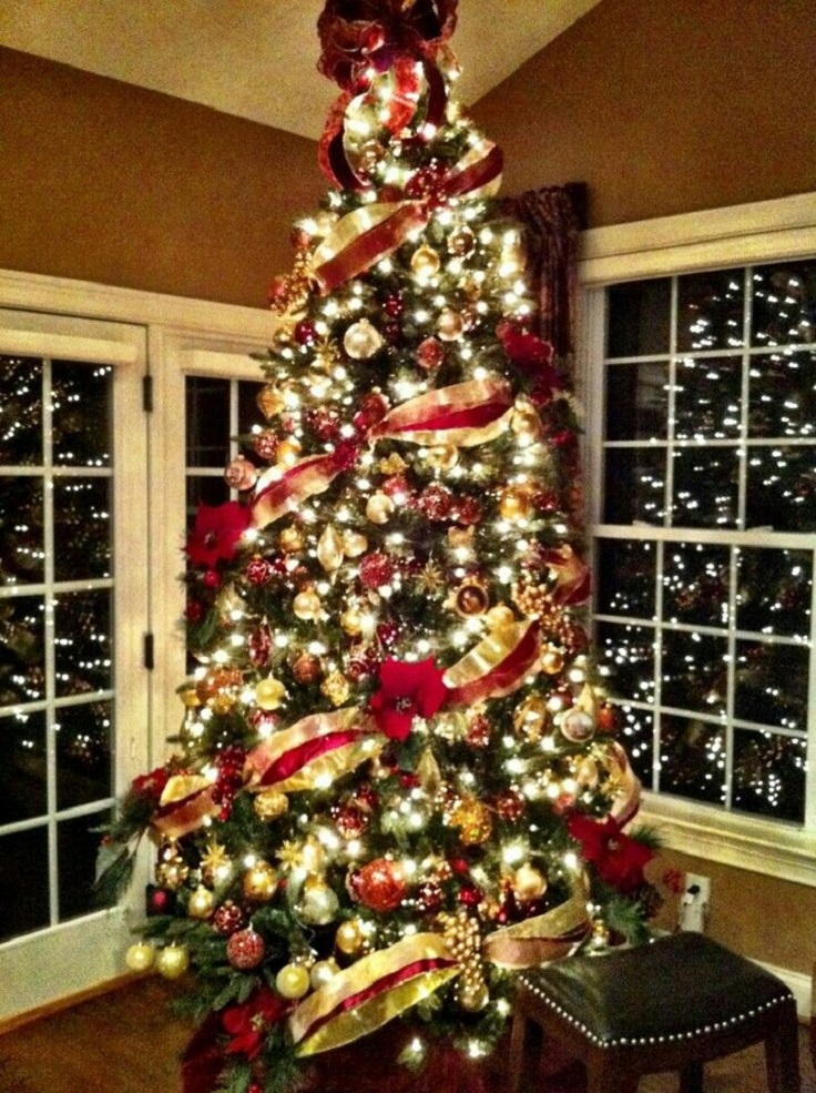 christmas tree decoration ideas red and gold photo5 - Pictures Of Decorated Christmas Trees