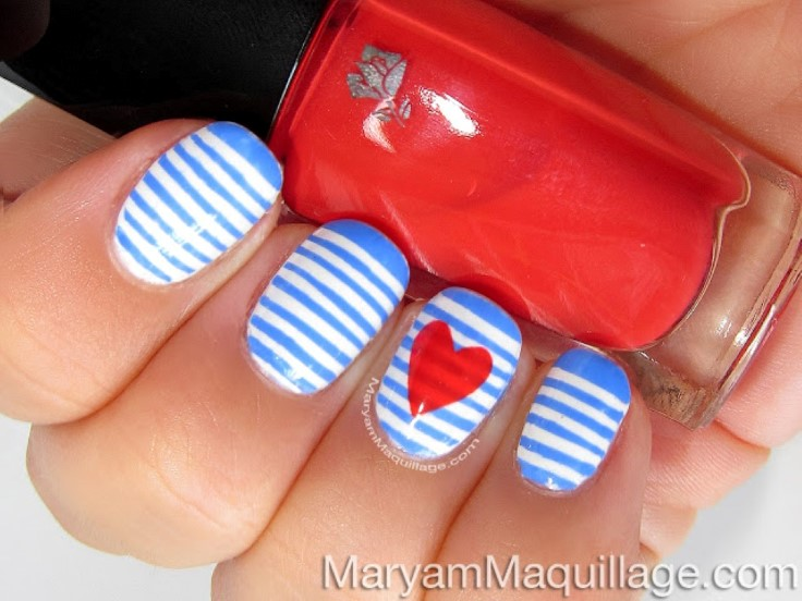 Sailor Stripes Nail Art - Top 10 Striped Nail Designs - Top Inspired