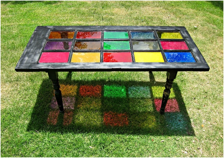 Colorful Glass Door Table