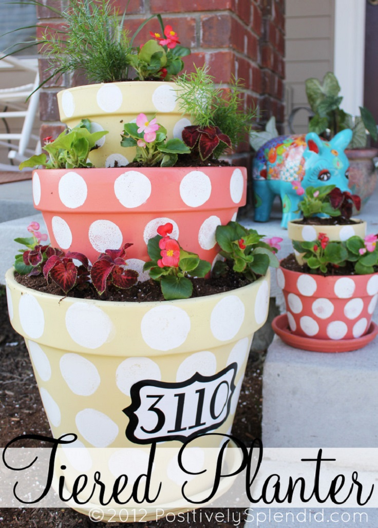 DIY Polka-Dotted Tiered Planters