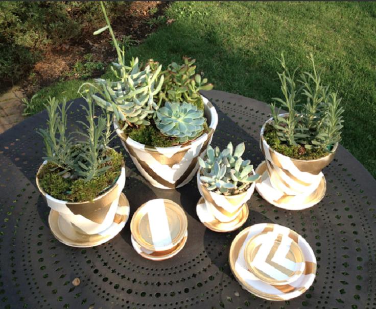 DIYmetallic graphic pots