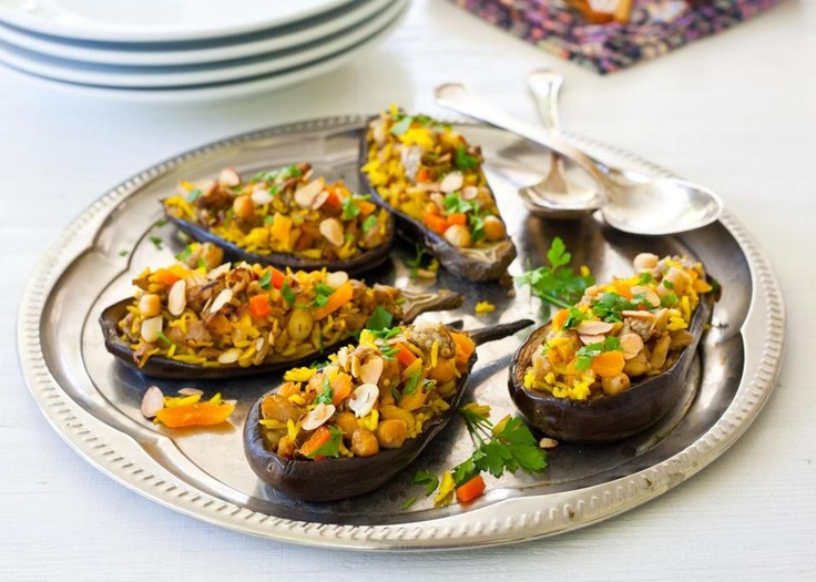 Eggplant-Stuffed-with-Saffron-Rice-Apricots-and-Chickpeas