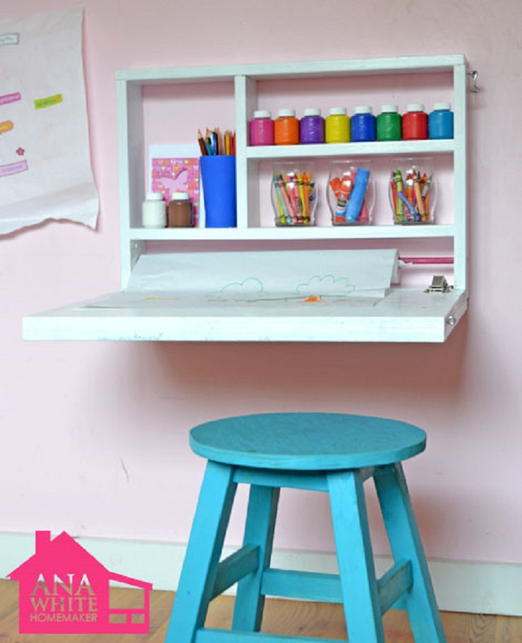 Top 10 best diy ways to organize kids 39 room top inspired for Diy fold down desk