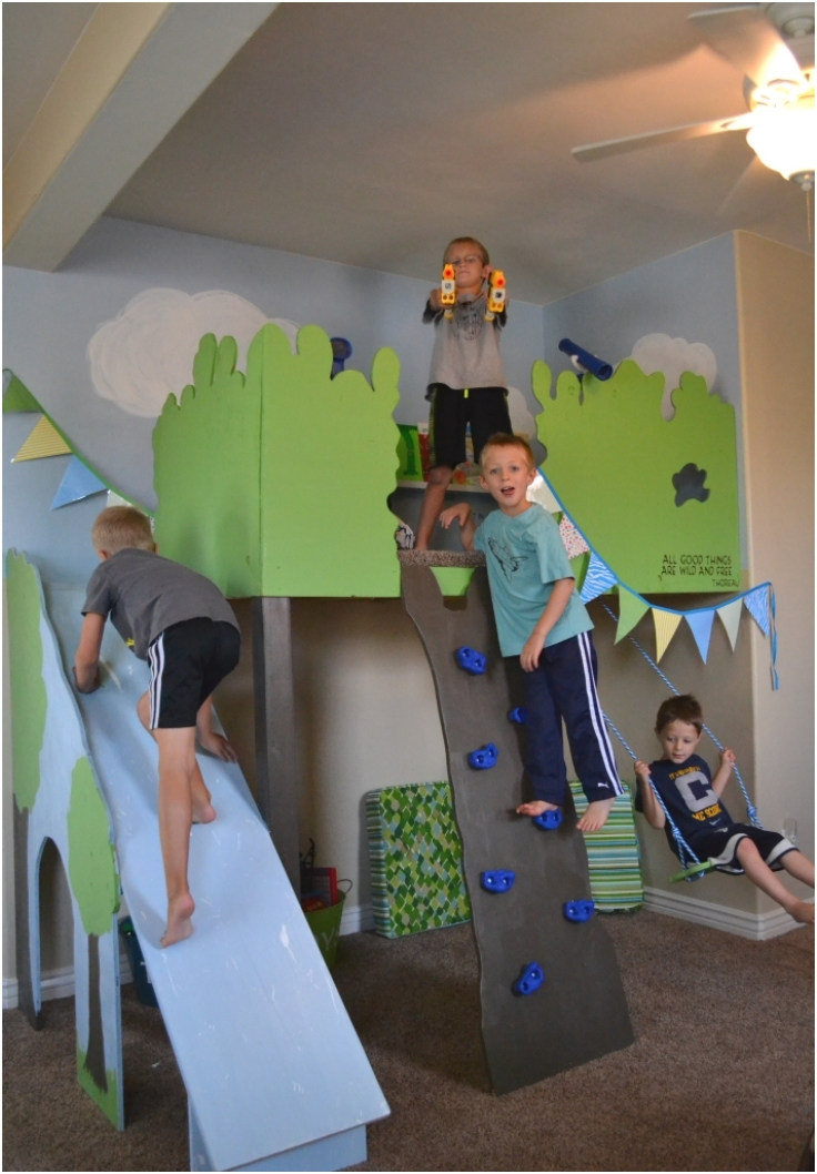 Indoor-Tree-House-With-Slide-and-Rock-Climbing-Wall