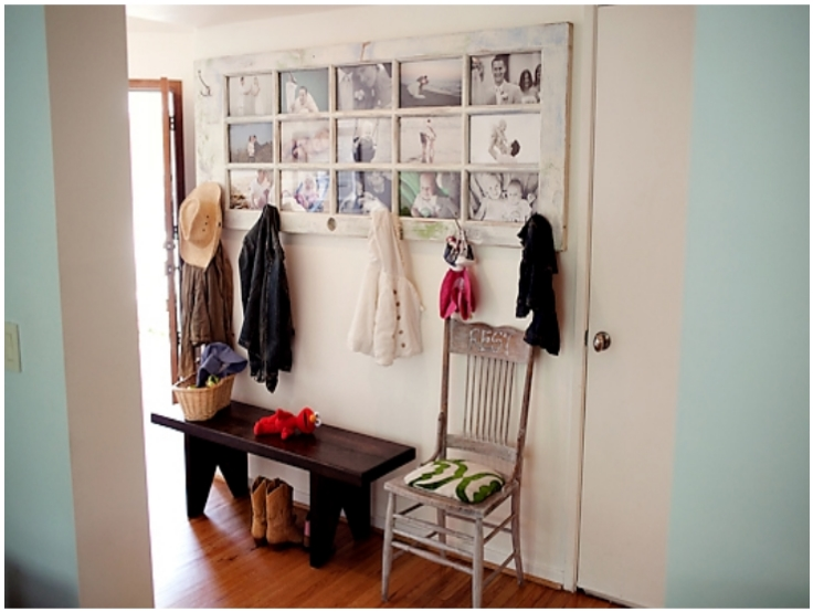 Picture Frame And Coat Rack From Old Glass Door