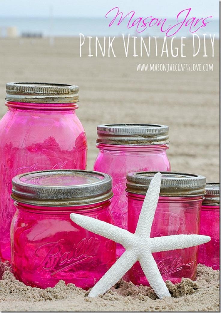 Pink-Vintage-Look-Mason-Jars