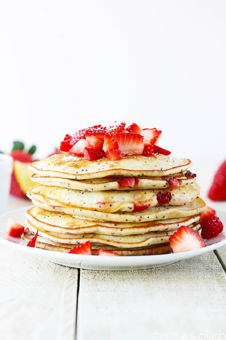 Strawberry Lemon Poppy Seed Pancakes