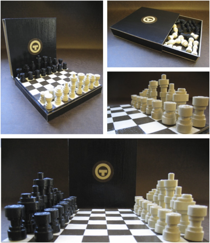 rolled-paper-chess-set