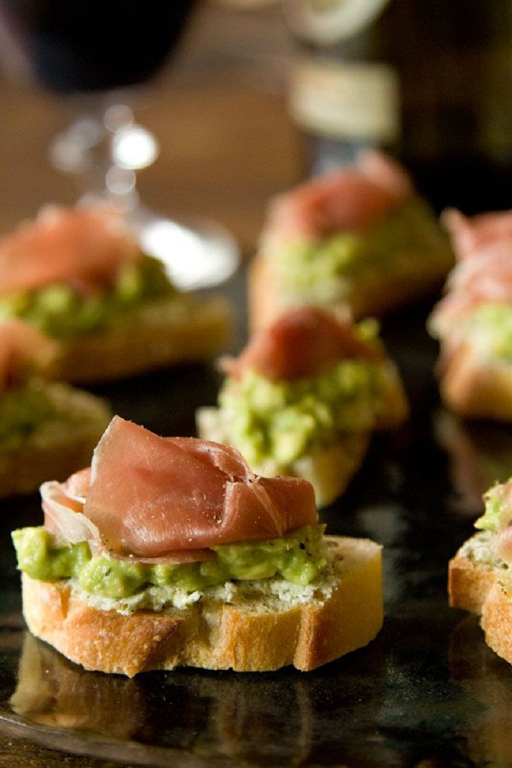 ... avocado prosciutto crostini! For more instructions check out the link