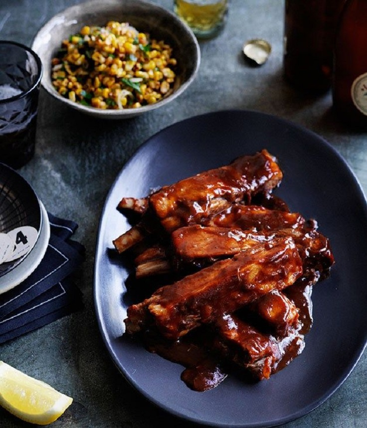 Glazed-lamb-ribs-with-corn-salad