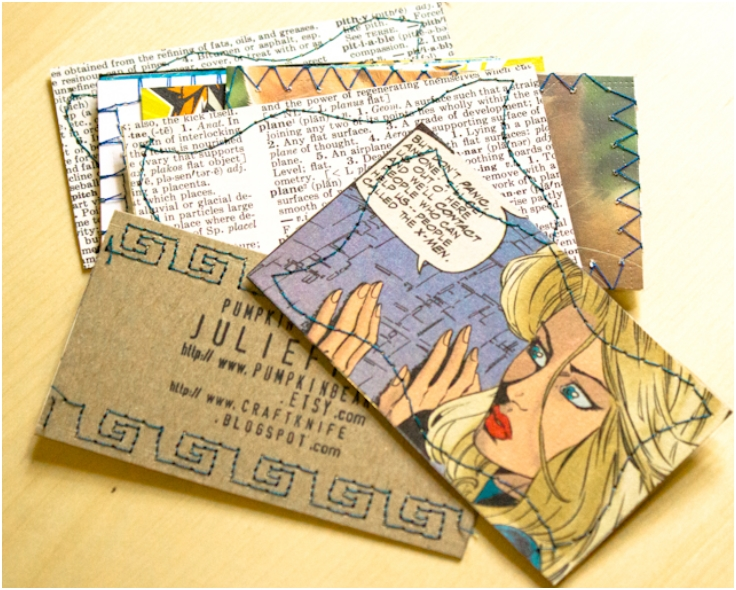 make recycled paper business cards using your sewing - Inexpensive Business Cards