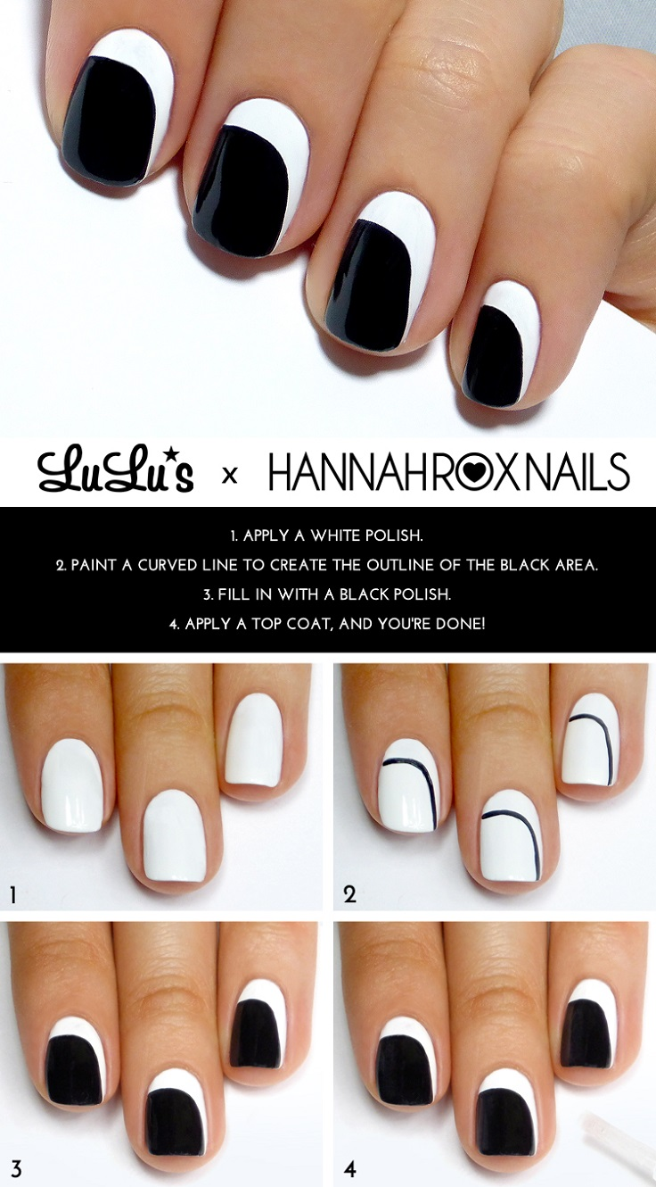 Black and White Asymmetrical Crescent Mani Tutorial