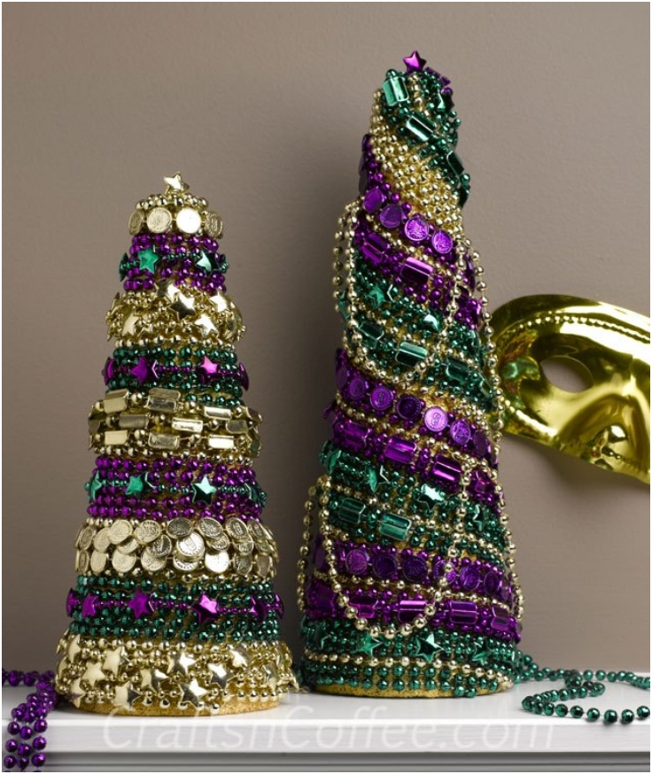 Coned-Topiary-From-Mardi-Gras-Beads
