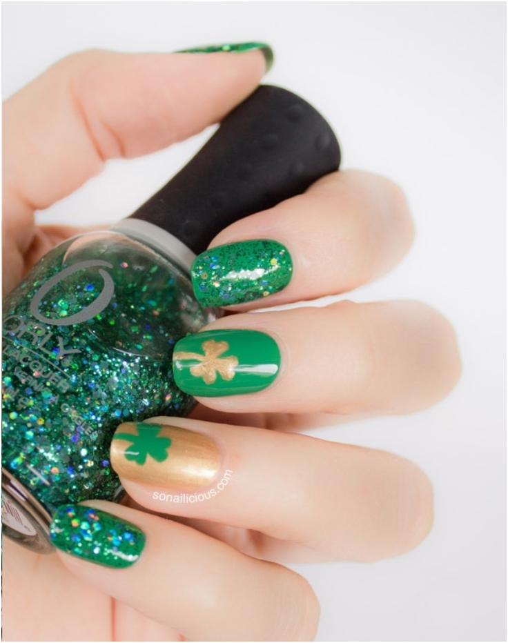 Green-Gold-And-Glitter-Shamrock-Nails