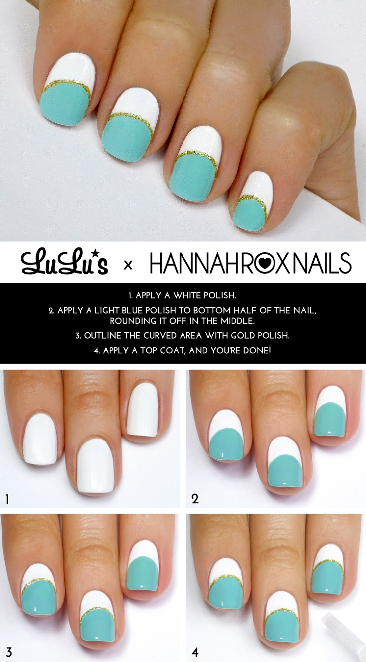 Mint, White and Gold Striped Mani Tutorial