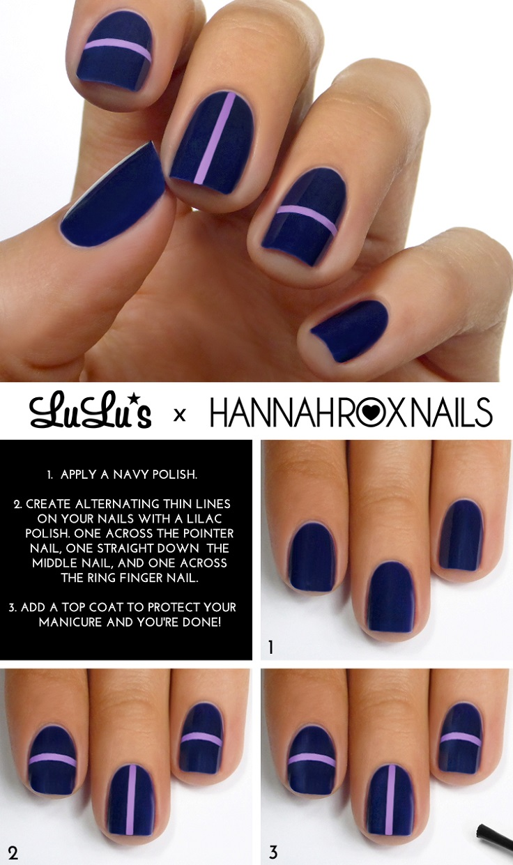 Navy Blue and Lilac Striped Mani Tutorial