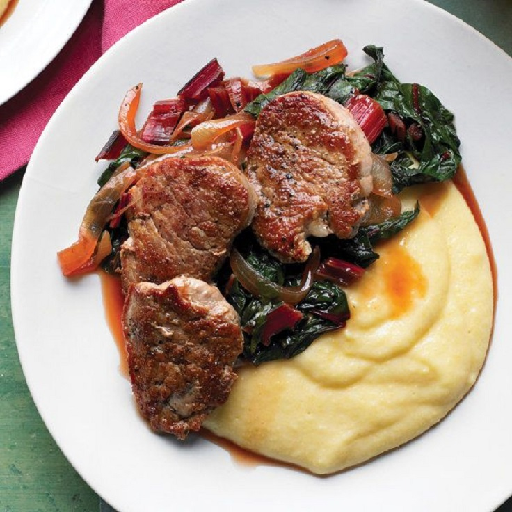 Pork-Tenderloin-with-Swiss-Chard-and-Polenta