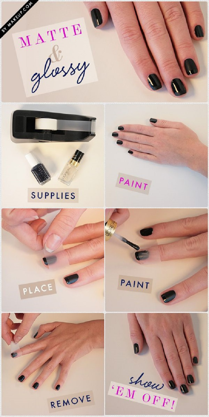 matte and shiny french manicure tutorial
