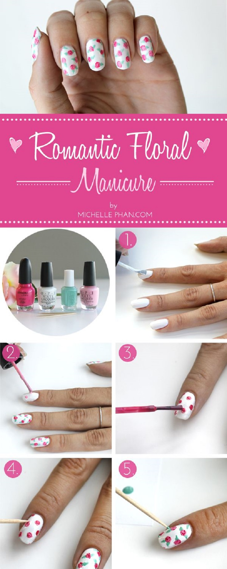 romantic floral mani tutorial
