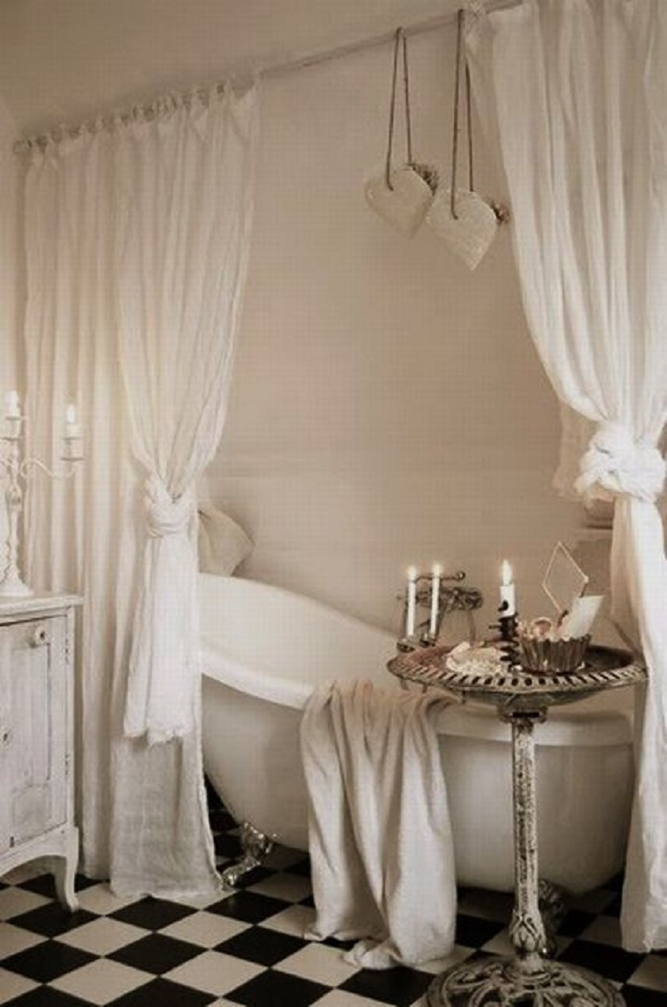Top 10 ways to include curtains in your bathroom decor for French shabby chic bathroom ideas