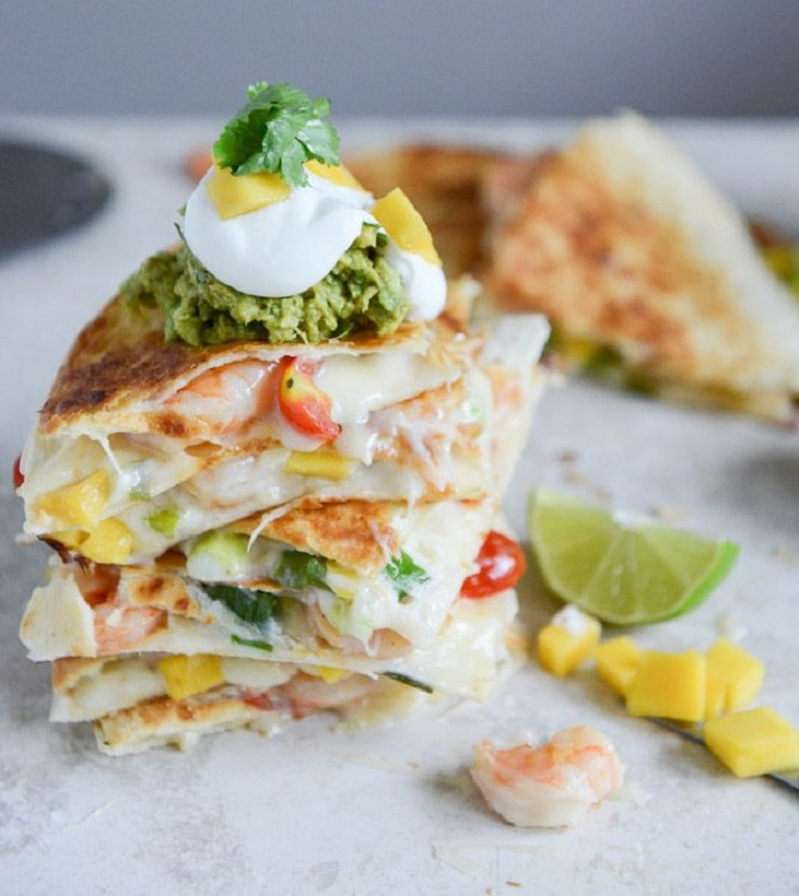 Chipotle-Beer-Shrimp-Quesadillas-with-Spicy-Guac