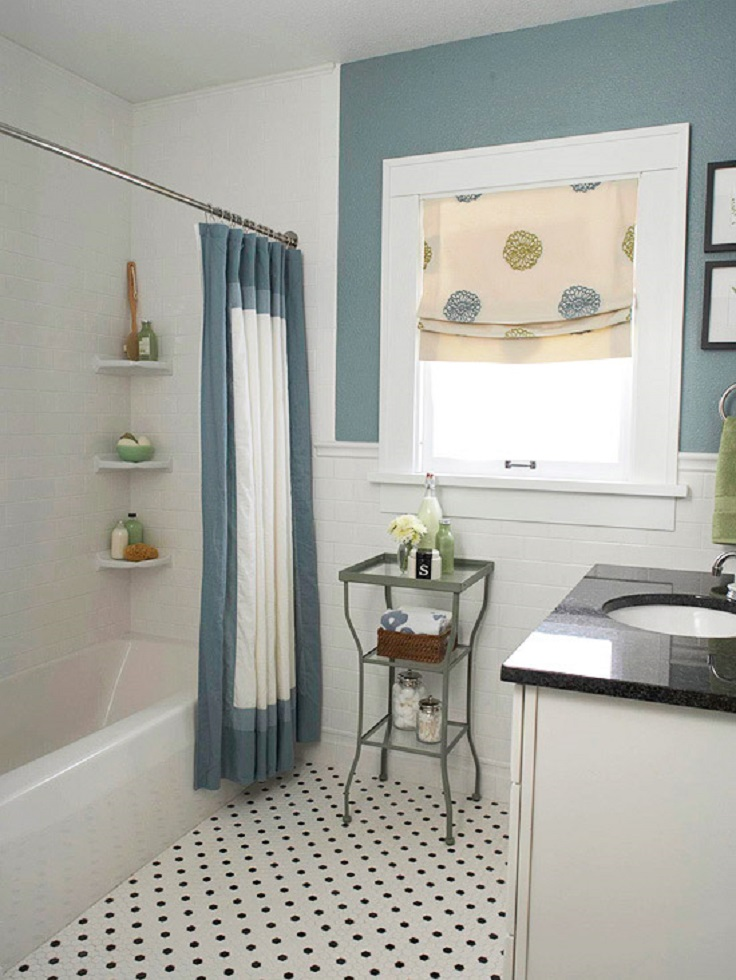 Hang-a-Curtain-that-carries-out-your-baths-color-scheme