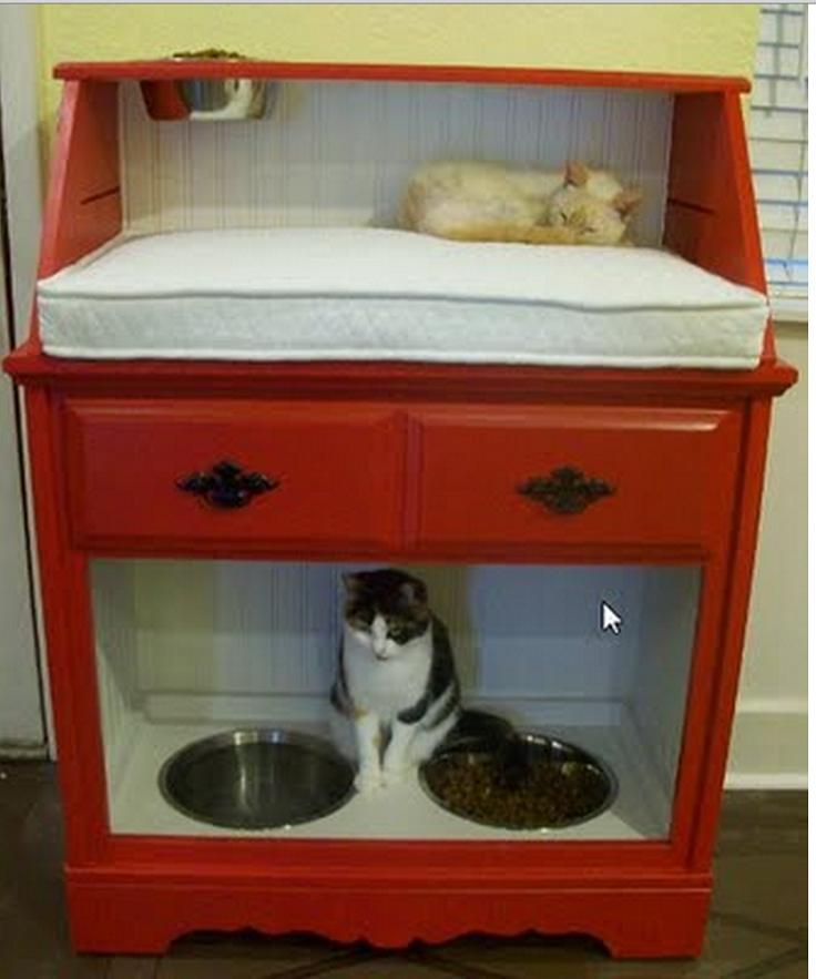 Pet-Station-Created-From-Vintage-Secretary-Desk