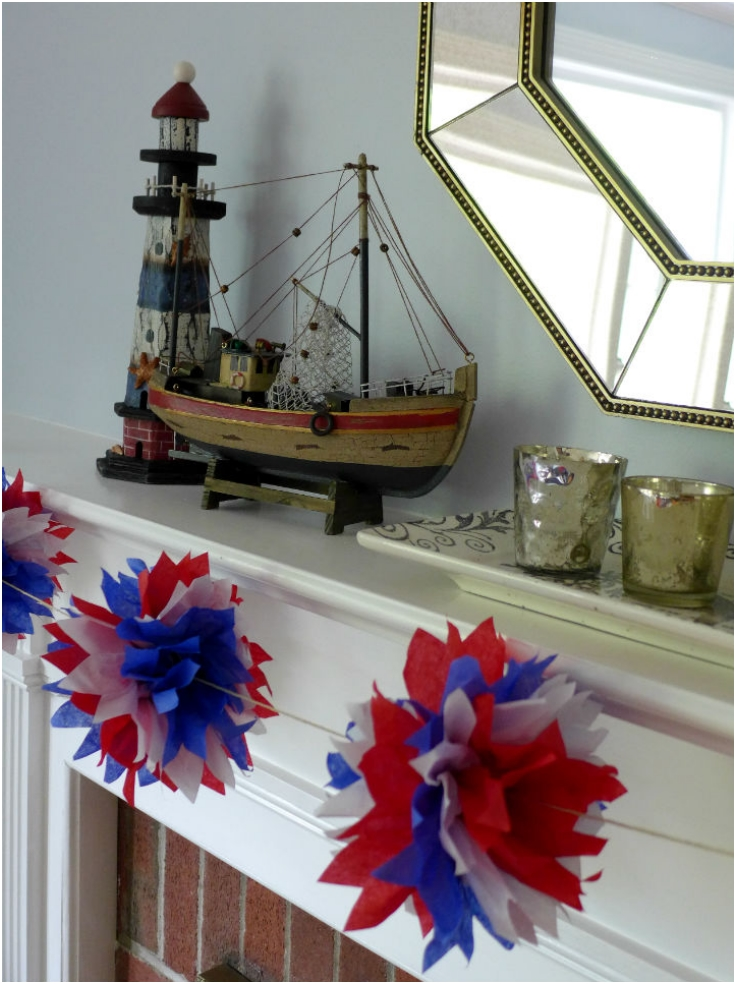 Red-White-And-Blue-Pom-Garland