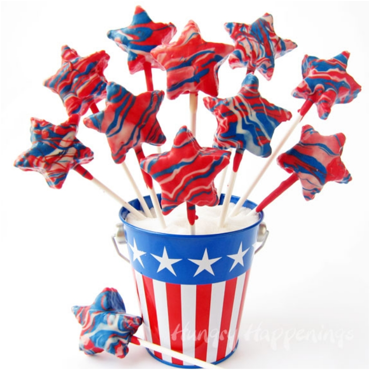 Red, White and Blue Candy Coated Cereal Treat Stars
