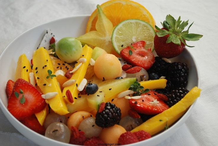 Tropical Fruit Salad With Almond Citrus Sauce