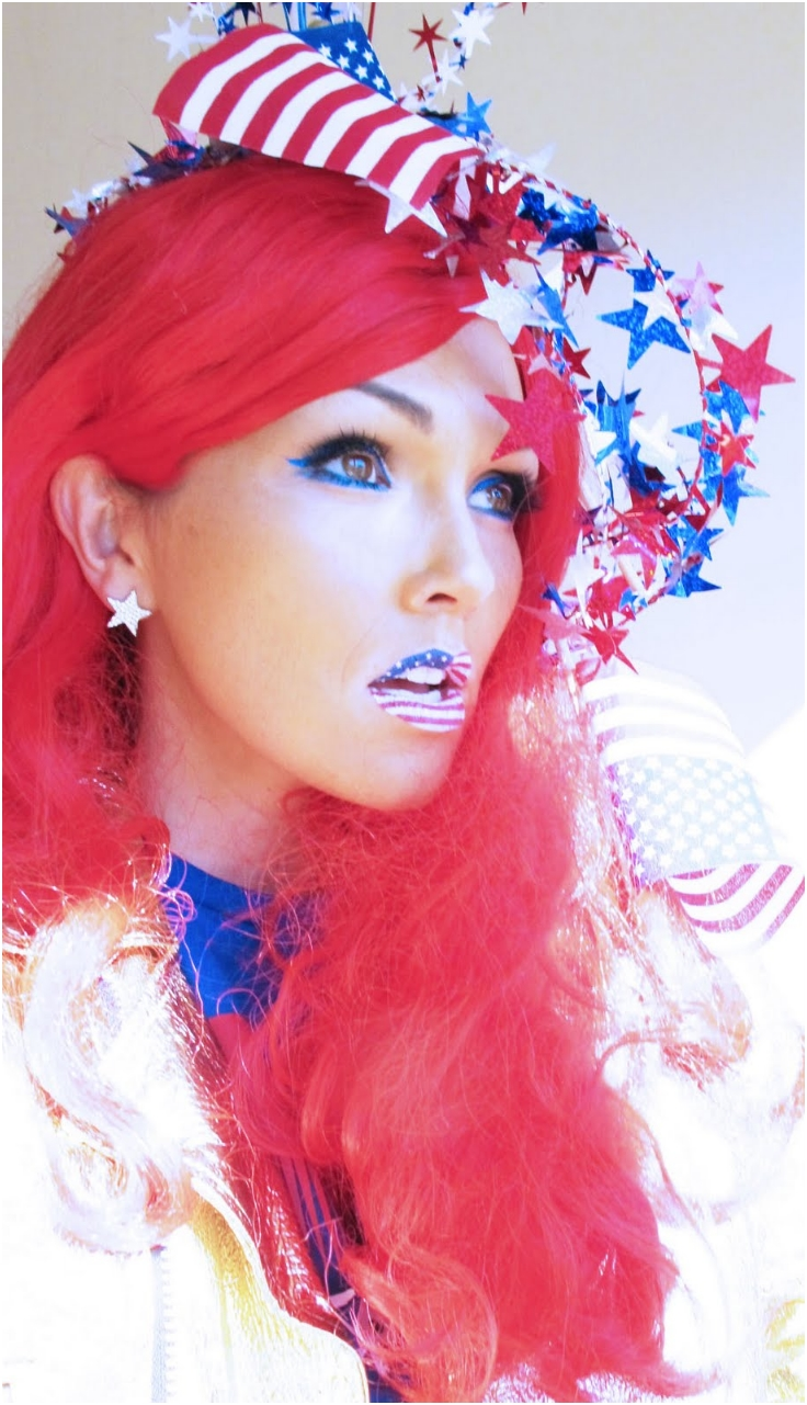 4th-July-Flag-Lips-And-Soft-Makeup
