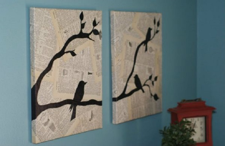 Canvas-wall-art-using-pages-of-an-old-book-or-Newspapper